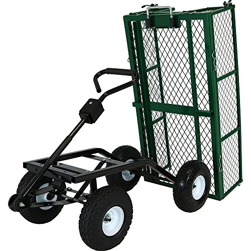 - Sunnydaze Utility Steel Dump Garden Cart, Outdoor Lawn Wagon with Removable Sides, Heavy-Duty 660 Pound Capacity, Green
