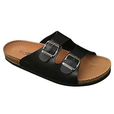 9e0b49d182d Unisex Cork Sandals - Mens Leather Comfort Mules Sandals Women s Flip Flops  Black 3.5 UK