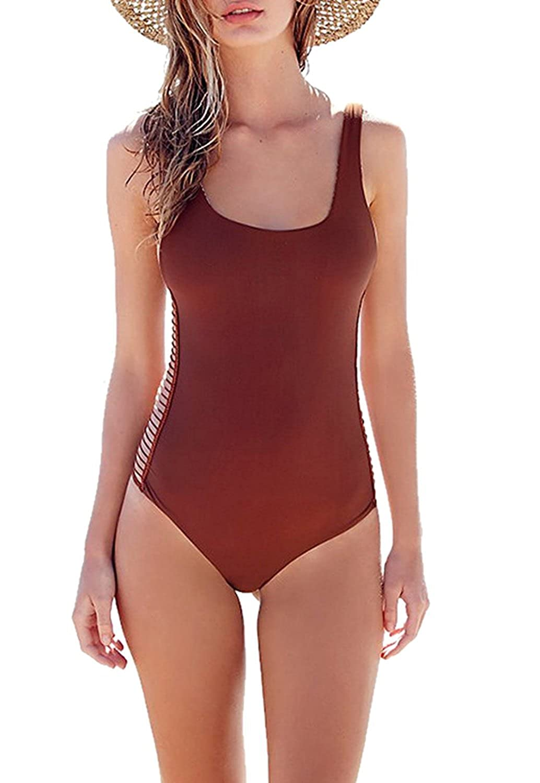 Women's Strappy Cut Out One Piece Swimsuit Bandage Backless Swimwear