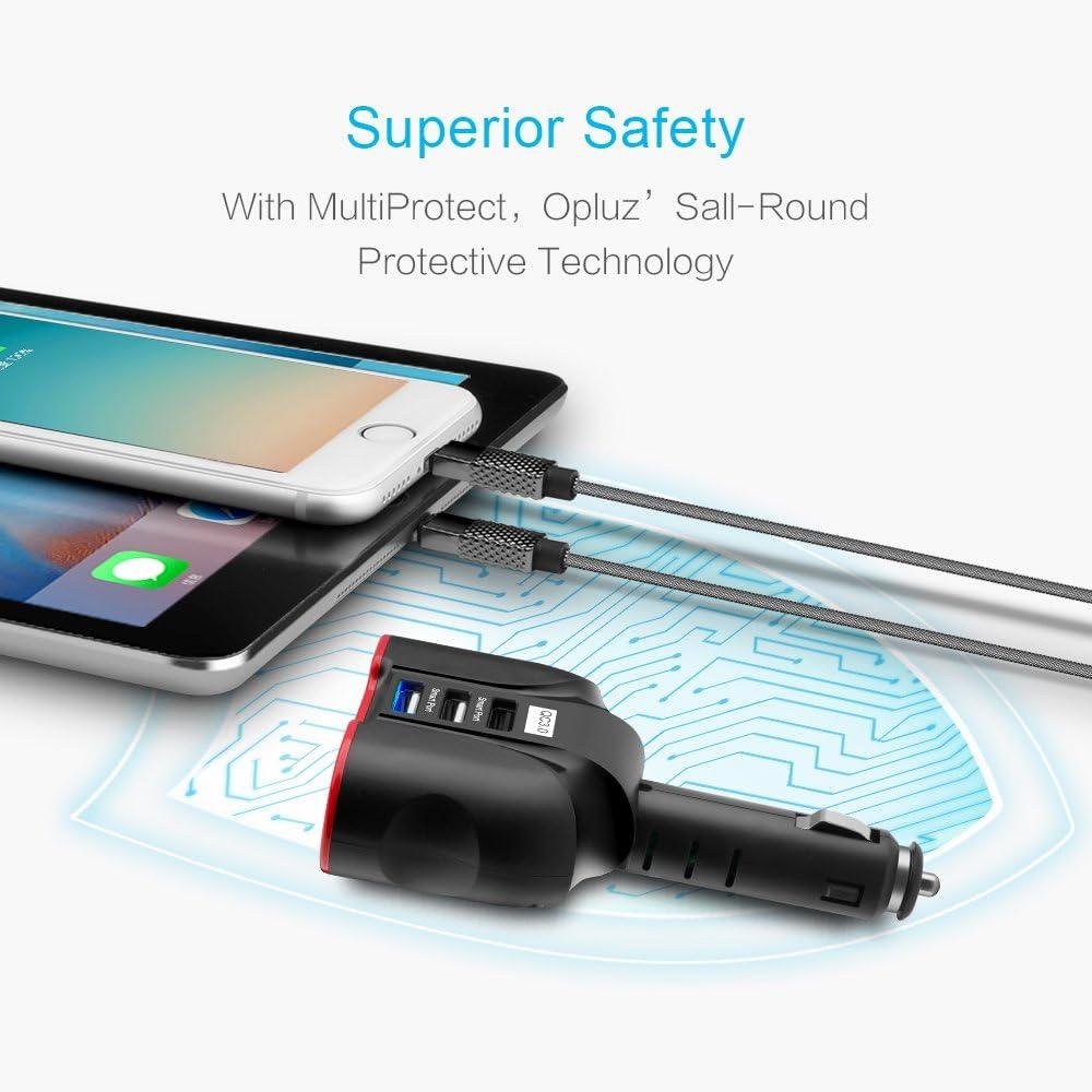 Tablets MP3 Players 2xSmart USB Port /& 1xQC3.0 USB Port Multifunction Car Socket Splitter Adapter Built-in 10A Fuse for Smart Phones QC3.0 Smart Car Charger GPS 3 USB 2 Socket