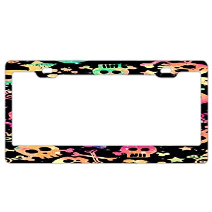 Amazon.com: YEX Abstract Background Colorful Skull License Plate ...