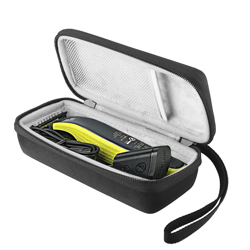 BOVKE Hard Case for Philips Norelco OneBlade Men's hybrid electric trimmer and shaver, FFP, QP2520/90 QP2520/70 Shockproof Organizer Carrying Case Travel Storage Bag,Black