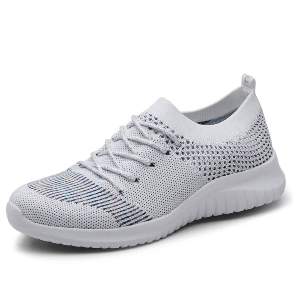 TIOSEBON Women's Lightweight Casual Walking Athletic Shoes Breathable Flyknit Running Slip-On Sneakers B07D7SR1VF 5 M US|2135 Gray