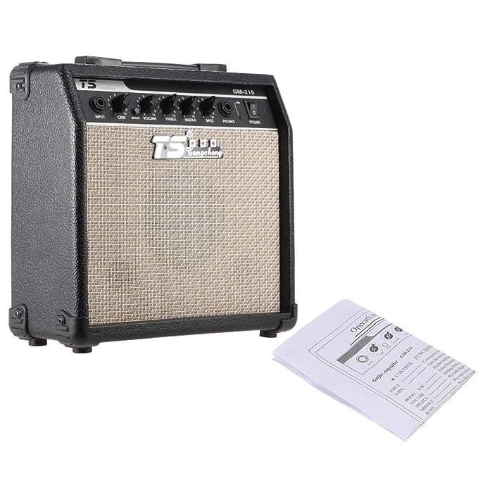Youtaimei Producto satisfactorio Distorsión de Amplificador de Amplificador de Guitarra eléctrica Profesional de 15 vatios con 3-Band EQ 5