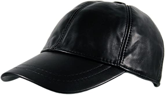 Mens Genuine 100/% Black Leather Pre Curved Peak Baseball Cap Hat