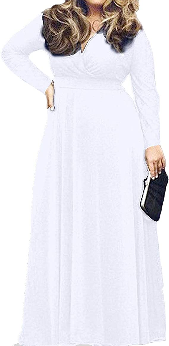 POSESHE Women's L-4XL Solid V-Neck Long Sleeve Plus Size Maxi Dress
