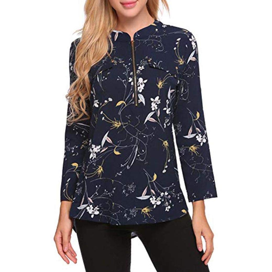 Women's Tops Toamen, Clothes Sale Clearance Ladies Fashion Flower Printing Zip Long Sleeve Casual Loose Blouses Shirts Tee Top Sweatshirts Women' s Tops Toamen