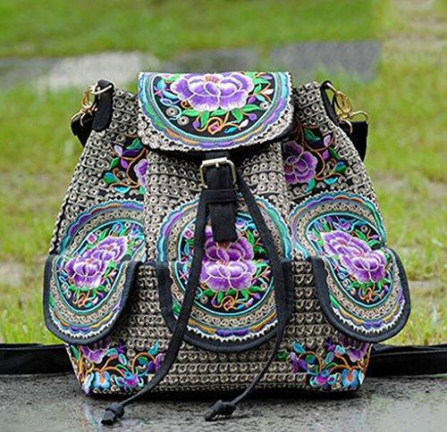 Gruesa hombro de la lona del bolso / bolso del bordado Viajes de Placer ( Color : 1# ) 8#