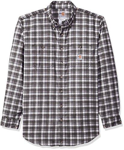 Carhartt Mens Flame Resistant Classic Plaid Long Sleeve Woven Shirt