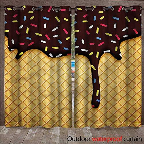 (cobeDecor Ice Cream Outdoor Curtain for Patio Choco Waffle W84 x L96(214cm x 245cm))