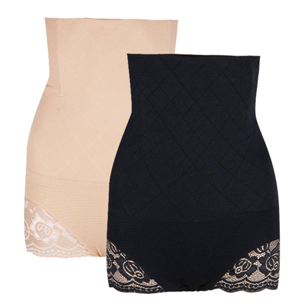 2 paia Mutandine Post Parto Slip Mutande Contenitive Dimagrante Shaper Corpo Corsetto Bustino Addome Intimo Modellante Donna (1*beige+1*nero)