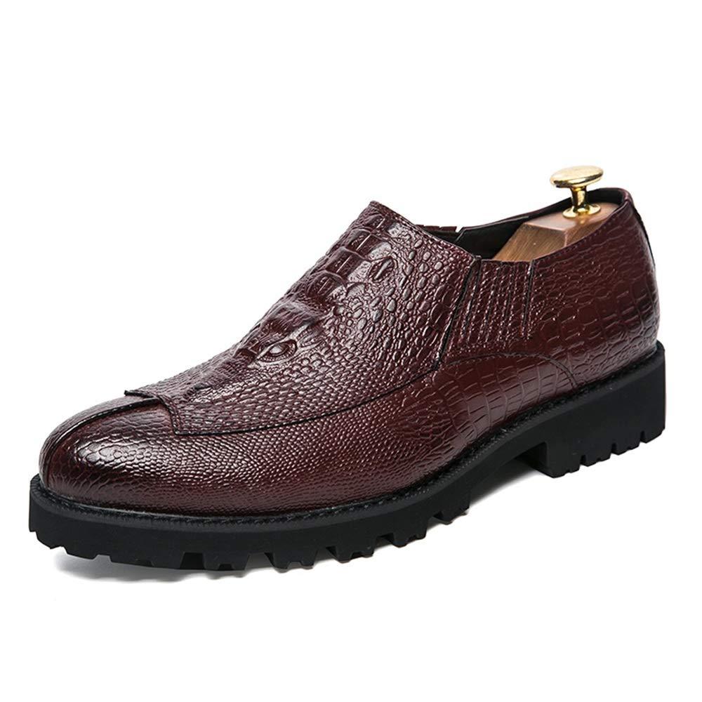 XHD-Scarpe Moda Uomo Oxford Scarpe Casual Scarpe Outdoor Personality Crocodile Pattern Cucitura Comoda Suola Antiscivolo Rosso | Distinctive  | Maschio/Ragazze Scarpa