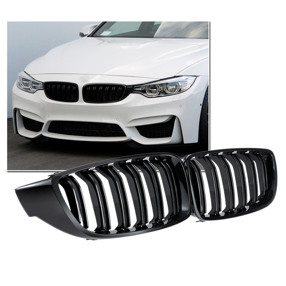KKmoon LPM6631788342105SD Car Front Grilles Gloss Black Front Kidney Grille Double Slat M4 Sport Style Grill