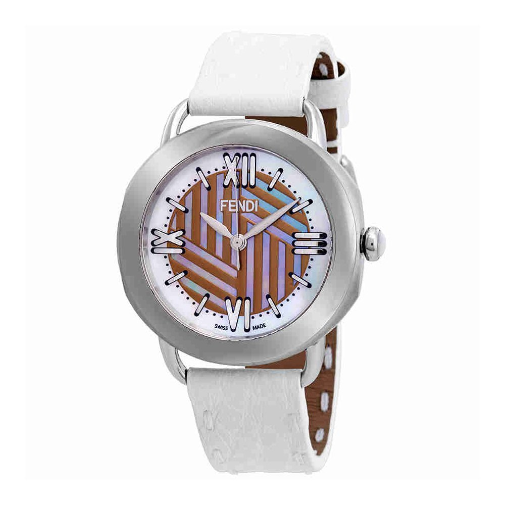 8cf888f8 Fendi Selleria Mother of Pearl Dial Ladies Watch F8110355H0-WH ...