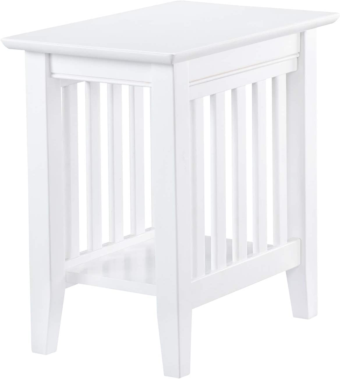 Atlantic Furniture AH13202 Mission End Table Chair Side Table, White