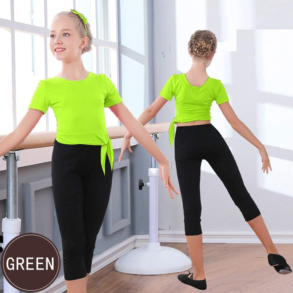 Rolanko Girls Dance Practice Outfits Elasticity Top Capri Leggings Kids Gymnastics Clothes Set