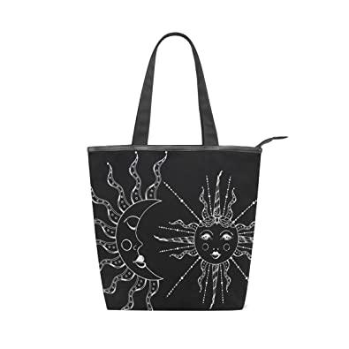 Amazon.com: Bolso de lona Boho para el sol y la luna, bolsa ...