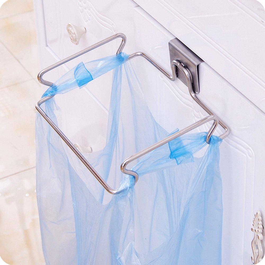 LANGUGU Stainless Steel Trash Rack Garbage Bag Holder Door Back Type Multi-functional for Kitchen Hook Hang Dishcloth, Mounts Over Cabinet Doors Cupboards Frame