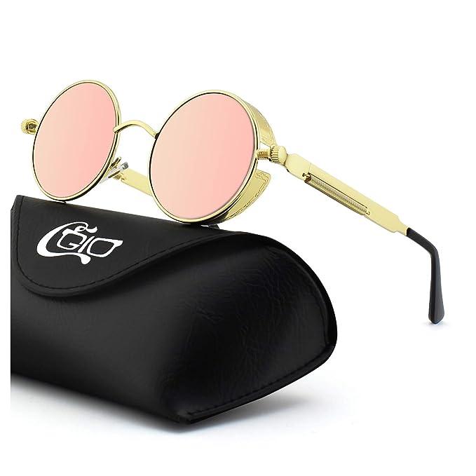 84852a501e4b CGID E72 Steampunk estilo retro inspirado círculo metálico redondo gafas de  sol polarizadas para hombres  Amazon.es  Ropa y accesorios