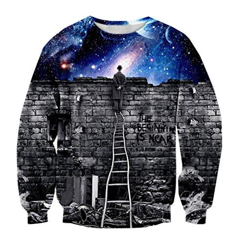 Sweatshirt Fashion Clothing Sweats Sport Tops Sweater Pullovers (Medium, Space)