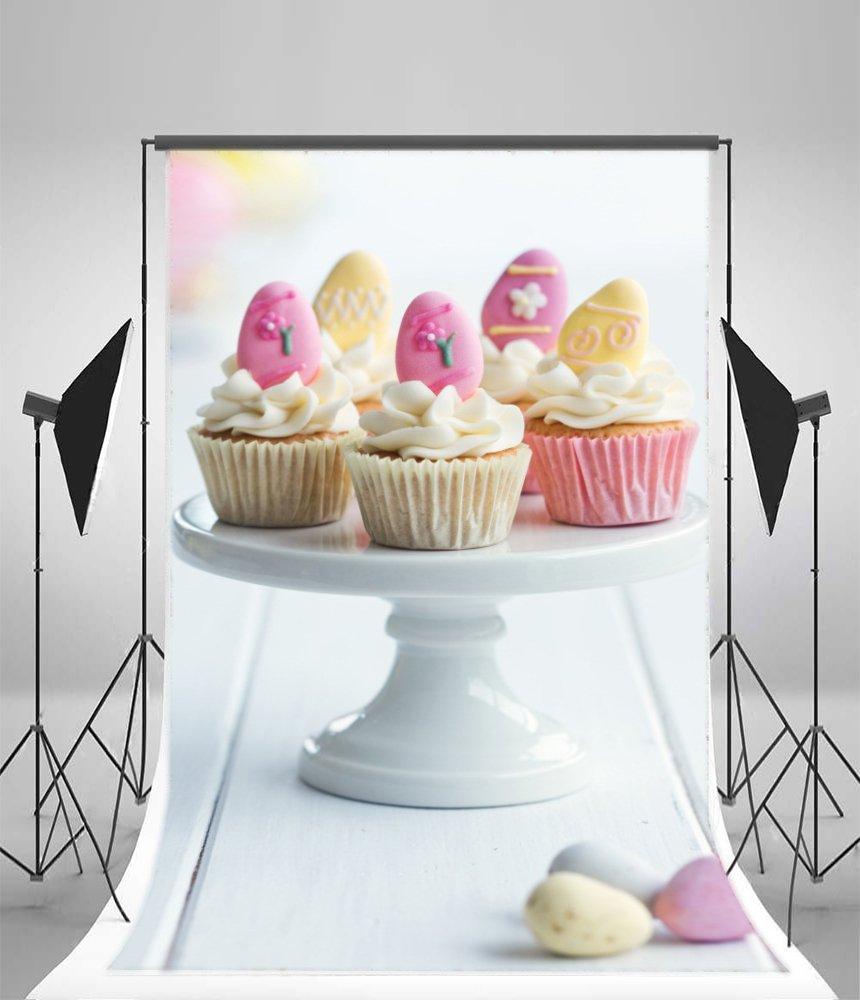laeacco背景5 x 7ftビニール写真背景カップケーキクリームテーブル誕生日パーティー装飾Sweet Loverベビー女の子子写真背景スタジオビデオ小道具バックドロップカラーケーキ卵イースター   B076PWS4N9