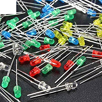 USA New 500Pcs 3mm LED Light White Yellow Red Blue Green Assortment Diodes