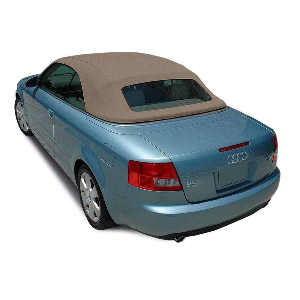 AutoBerry Compatible with Audi A4 2003-2009 Convertible Top with Glass Window Made from Haartz Stayfast, (Tan)