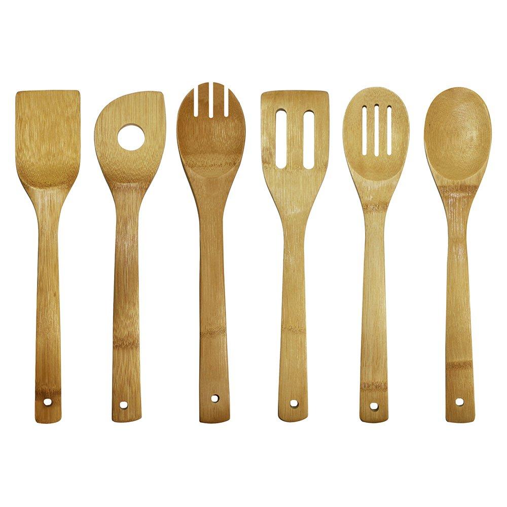 Amazon.com: Oceanstar Bamboo Cooking Utensil Set, 6-Piece: Wooden ...