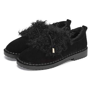 c292399f8ed Zapatos de Mujer Botines de Terciopelo a la Moda Zapatos para Caminar Botas  Ligeras para la Nieve Terciopelo cálido Cámara Lenta Calzado (Color :  Black, ...