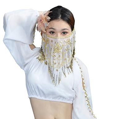 adca316194fb7d Loveble Dames Accessoires de Danse du Ventre Femmes Voile de Visage de Danse  du Ventre Avec