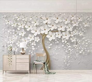Papier Peint 3d Mur De Fond Tv Belle Fleur Blanche En Relief
