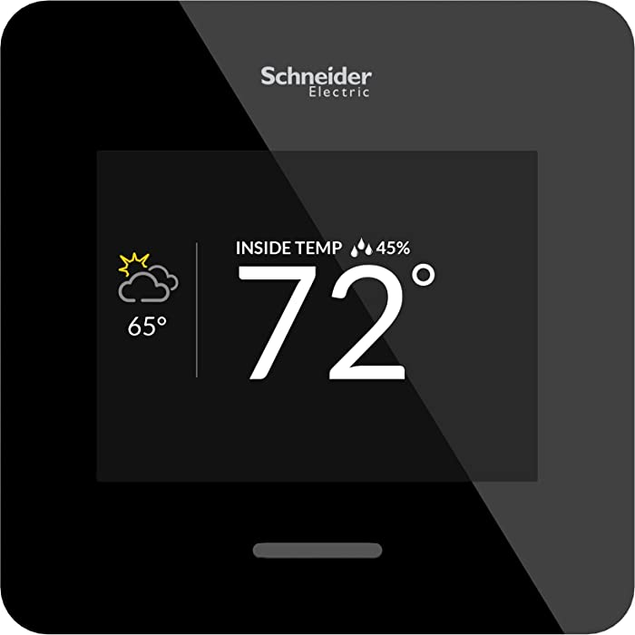 Schneider Electric Wiser Air Wi-Fi Smart Thermostat with Comfort Boost- Black, Compatible with Alexa.
