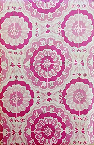 "Bursting Blooms of Color Vinyl Flannel Back Tablecloth - Various Sizes and Colors (52"" x 70"" Oblong, Shades of Pink/Fuschia)"
