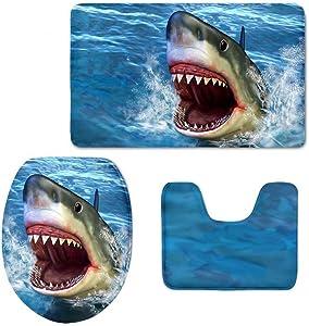 Shark Bathroom Rug Set, 3 Piece Bath Mat Sets Soft Skidproof Toilet Seat Cover Bath Mat Lid Cover