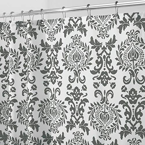 mDesign STALL SIZED Decorative Damask Print - Easy Care Fabric Shower Curtain with Reinforced Buttonholes, for Bathroom Showers, Stalls and Bathtubs, Machine Washable - 54