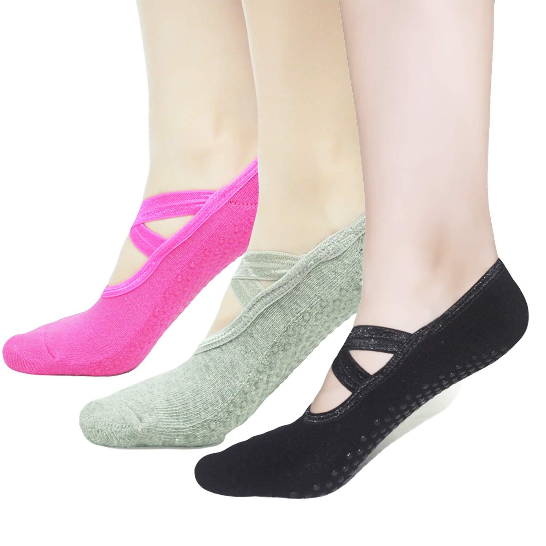 HYCLES Gripper Pilates Barre Slipper Yoga Socks For Women 3 Pairs Sticky Non Slip Socks