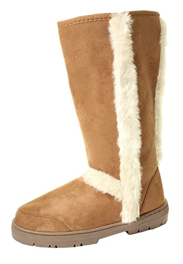 a5694bf12 Ella Ladies Womans Festival Winter Snow Comfy Flat Ankle Knee Calf High Fur  Lined Hard Sole
