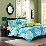 Intelligent Design Tanya Twin/Twin Xl Size Bed Comforter Set - Aqua Yellow, Damask – 4 Pieces Bedding Sets – Ultra Soft Microfiber Bedroom Comforters