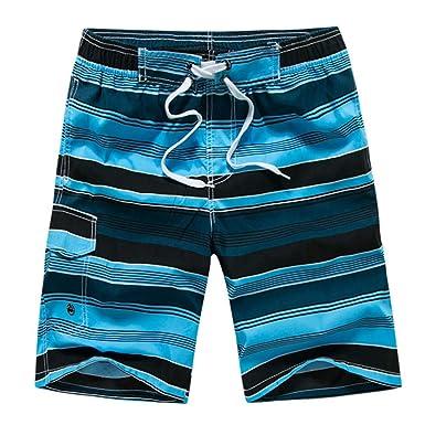 85f7ff39ad Vickyleb Mens Swim Trunks Quick Dry Shorts Casual Stripe Printing ...