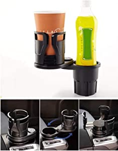 Bingbing 2 in 1 Multi-Function Dual Cup Holder Extender Storage Device, Universal Car Cup Holder Extender Adapter 360° Rotating Cup Holder, Can Hold Up to 17oz-20 oz Beverage Bottles (2 in 1 Matt)