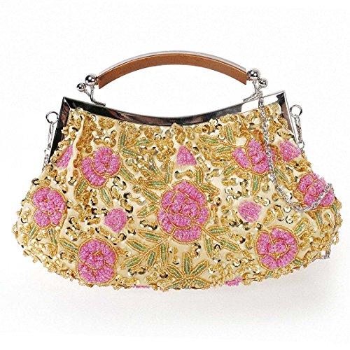 BMC Mujer Pequeño Abalorio Incrustado Rosa Diseño Flores Bolso De Noche Brillante Dorado