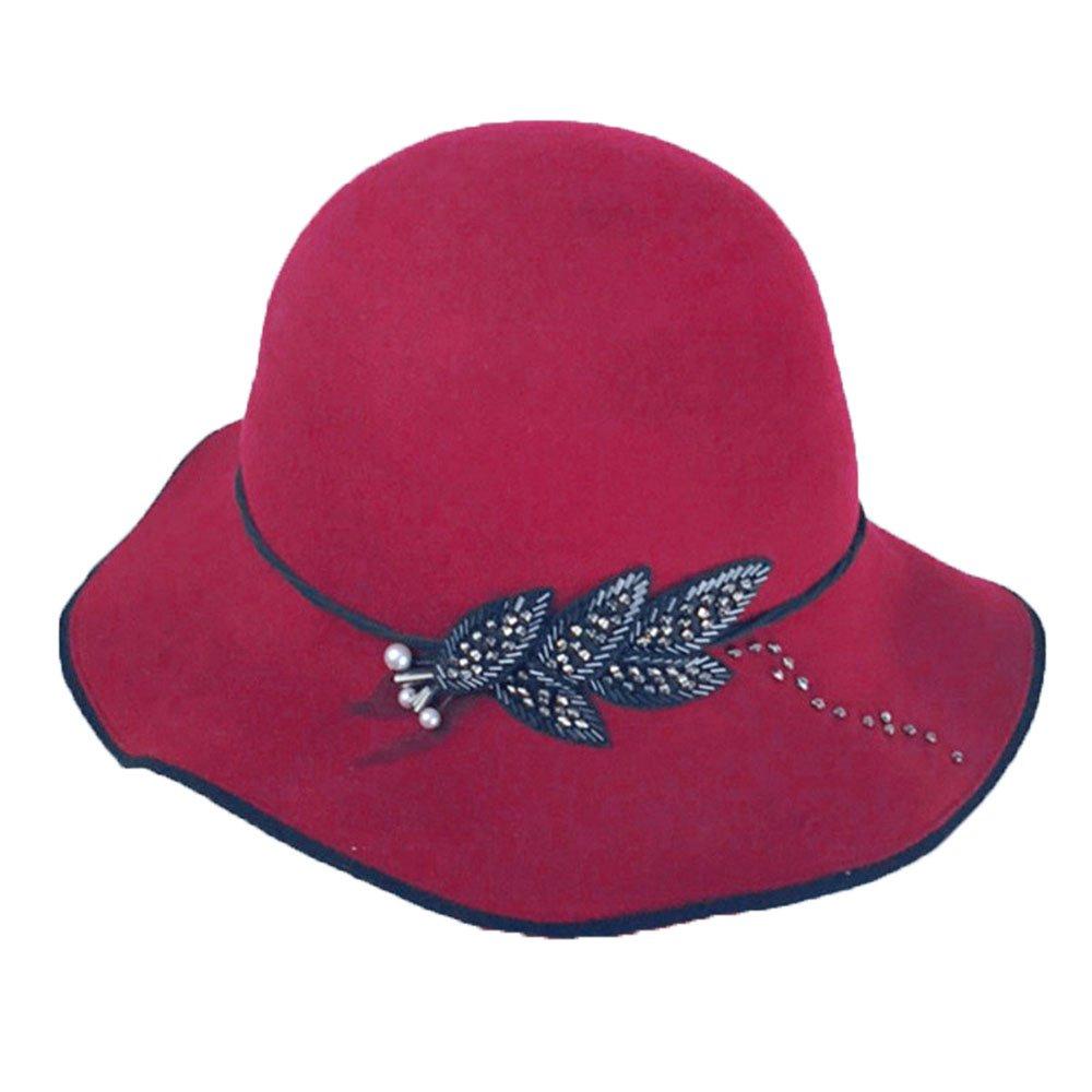 Shuo lan hu wai Erwachsene Dame ROT Top Hat Wollmütze Fliege