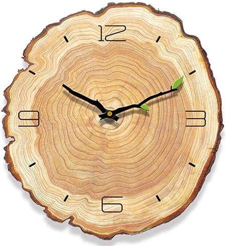 GRENSS - Reloj de pared con anillo de madera y cuarzo, moderno, duradero, práctico reloj de pared, decoración para el hogar, oficina, 4 palabras, España: Amazon.es: Hogar
