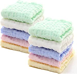 Cotton Baby Wipes Soft Baby Face Towel for Sensitive 10 Pack 12x12 inches