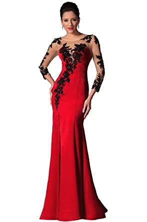 eDressit New Red Sheer Top Lace Long Sleeves Evening Prom Gown (02146302)