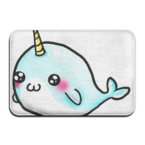 Cute Small Pin Cute Cartoon Narwhal \r\nIndoor Doormat Backing Non Slip  Door Mat
