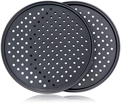 PreOkupied 2-Pack of 12.2 Inch Perforated Pizza Pans Including 2 Black Pan Scrapers Dark Gray Carbon Steel with Nonstick Coating