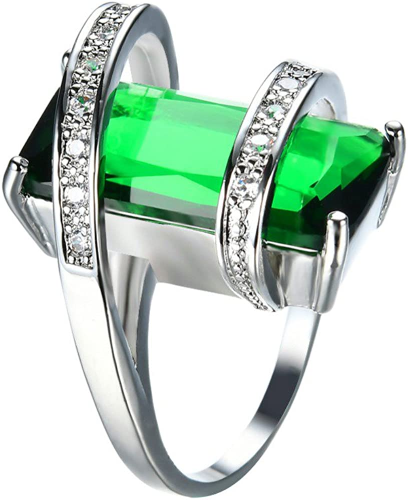 F/&T JEWEL Fashion Green Geometric White Gold Filled Jewelry Vintage Ring For Women Wedding Rings