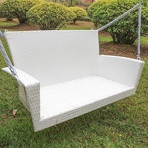 Kingston Contemporary Resin Wicker Porch Swing (Antique White)