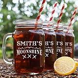 Moonshine Engraved Mason Jar Set of 4, 16 oz. Each